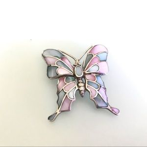 Pink Blue Inlaid MOP Butterfly Sterling Pendant